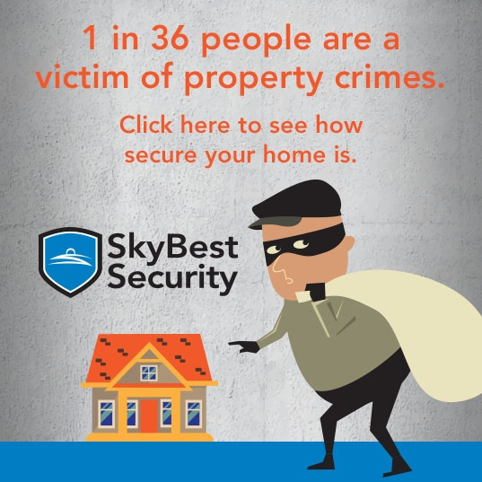 1 in 36 people are a victim of property crimes. Click here to see how secure your home is.